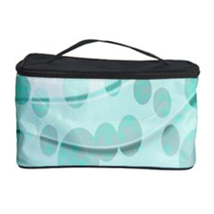 Abstract Background Teal Bubbles Abstract Background Of Waves Curves And Bubbles In Teal Green Cosmetic Storage Case by Simbadda