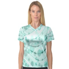 Abstract Background Teal Bubbles Abstract Background Of Waves Curves And Bubbles In Teal Green Women s V Neck Sport Mesh Tee