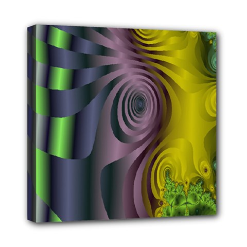 Fractal In Purple Gold And Green Mini Canvas 8  X 8  by Simbadda