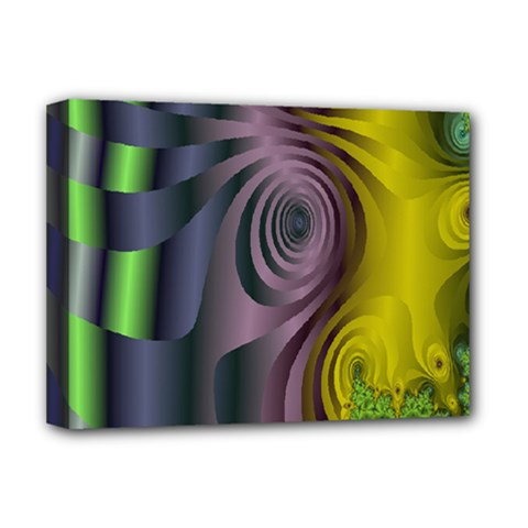 Fractal In Purple Gold And Green Deluxe Canvas 16  X 12   by Simbadda