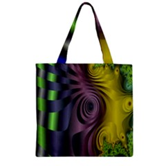 Fractal In Purple Gold And Green Zipper Grocery Tote Bag