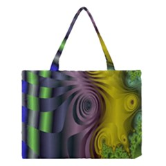 Fractal In Purple Gold And Green Medium Tote Bag by Simbadda