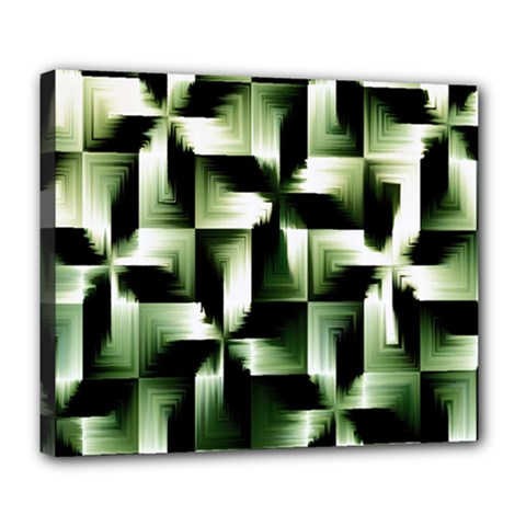 Green Black And White Abstract Background Of Squares Deluxe Canvas 24  X 20   by Simbadda