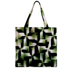 Green Black And White Abstract Background Of Squares Zipper Grocery Tote Bag