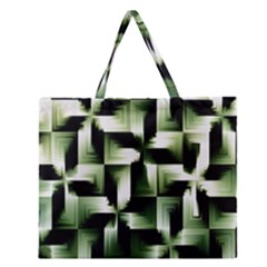 Green Black And White Abstract Background Of Squares Zipper Large Tote Bag by Simbadda