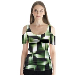 Green Black And White Abstract Background Of Squares Butterfly Sleeve Cutout Tee
