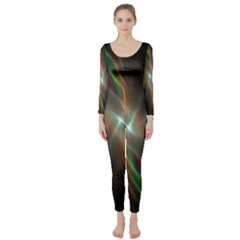 Colorful Waves With Lights Abstract Multicolor Waves With Bright Lights Background Long Sleeve Catsuit