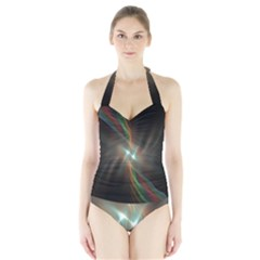 Colorful Waves With Lights Abstract Multicolor Waves With Bright Lights Background Halter Swimsuit