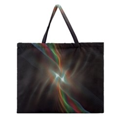 Colorful Waves With Lights Abstract Multicolor Waves With Bright Lights Background Zipper Large Tote Bag by Simbadda