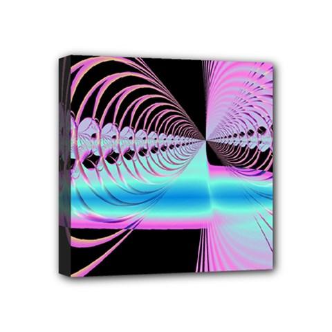 Blue And Pink Swirls And Circles Fractal Mini Canvas 4  X 4  by Simbadda