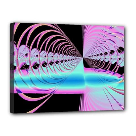 Blue And Pink Swirls And Circles Fractal Canvas 16  X 12  by Simbadda