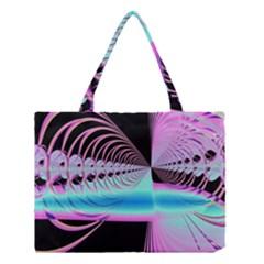 Blue And Pink Swirls And Circles Fractal Medium Tote Bag by Simbadda