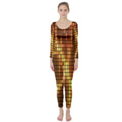 Circle Tiles A Digitally Created Abstract Background Long Sleeve Catsuit by Simbadda