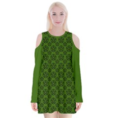 Green Pagan Pentacle Wiccan Velvet Long Sleeve Shoulder Cutout Dress