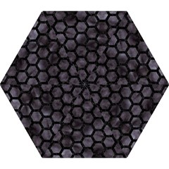 Hexagon2 Black Marble & Black Watercolor (r) Mini Folding Umbrella by trendistuff
