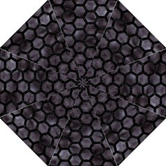 Hexagon2 Black Marble & Black Watercolor (r) Hook Handle Umbrella (medium) by trendistuff