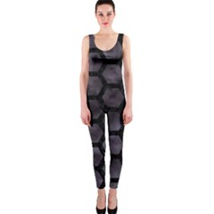 Hexagon2 Black Marble & Black Watercolor (r) Onepiece Catsuit by trendistuff