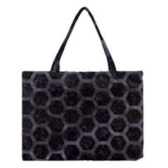 Hexagon2 Black Marble & Black Watercolor Medium Tote Bag by trendistuff