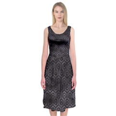Hexagon1 Black Marble & Black Watercolor (r) Midi Sleeveless Dress by trendistuff