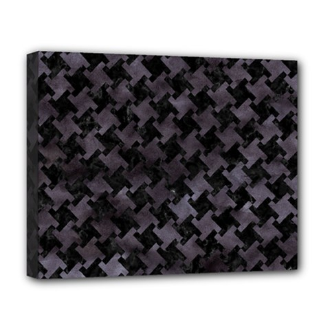 Houndstooth2 Black Marble & Black Watercolor Deluxe Canvas 20  X 16  (stretched) by trendistuff