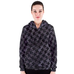 Houndstooth2 Black Marble & Black Watercolor Women s Zipper Hoodie by trendistuff