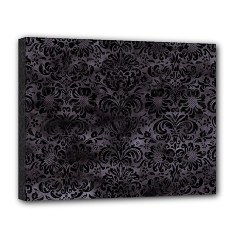 Damask2 Black Marble & Black Watercolor (r) Canvas 14  X 11  (stretched) by trendistuff