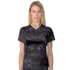 Damask2 Black Marble & Black Watercolor (r) V Neck Sport Mesh Tee