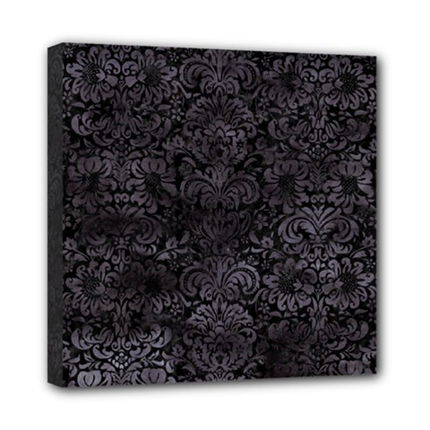 Damask2 Black Marble & Black Watercolor Mini Canvas 8  X 8  (stretched) by trendistuff