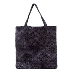 Damask1 Black Marble & Black Watercolor (r) Grocery Tote Bag by trendistuff