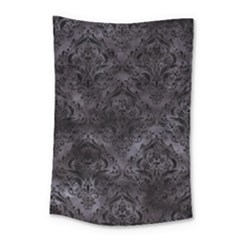 Damask1 Black Marble & Black Watercolor (r) Small Tapestry by trendistuff