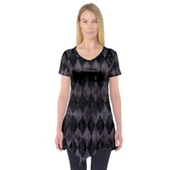 Diamond1 Black Marble & Black Watercolor Short Sleeve Tunic
