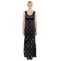 Circles3 Black Marble & Black Watercolor (r) Maxi Thigh Split Dress by trendistuff