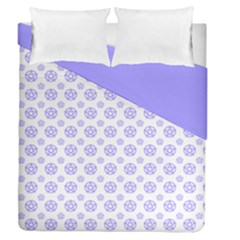 White And Lilac Pentacle Pagan Wiccan Duvet Cover Double Side (queen Size) by cheekywitch