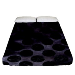 Circles2 Black Marble & Black Watercolor (r) Fitted Sheet (queen Size) by trendistuff