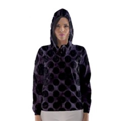Circles2 Black Marble & Black Watercolor (r) Hooded Wind Breaker (women) by trendistuff