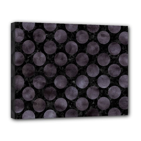 Circles2 Black Marble & Black Watercolor Canvas 14  X 11  (stretched) by trendistuff