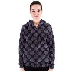 Circles2 Black Marble & Black Watercolor Women s Zipper Hoodie by trendistuff