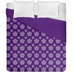 Deep Purple White Pentacle Pagan Wiccan Duvet Cover Double Side (california King Size) by cheekywitch