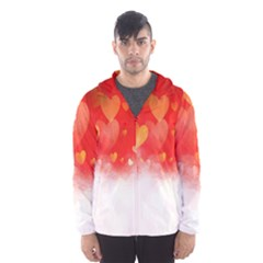 Abstract Love Heart Design Hooded Wind Breaker (men)