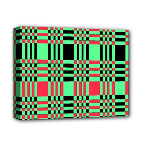 Bright Christmas Abstract Background Christmas Colors Of Red Green And Black Make Up This Abstract Deluxe Canvas 14  X 11  by Simbadda