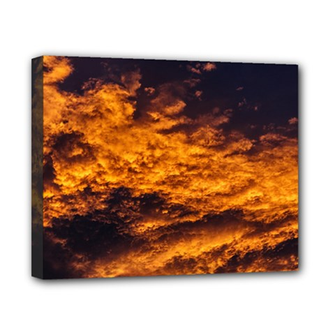 Abstract Orange Black Sunset Clouds Canvas 10  X 8  by Simbadda