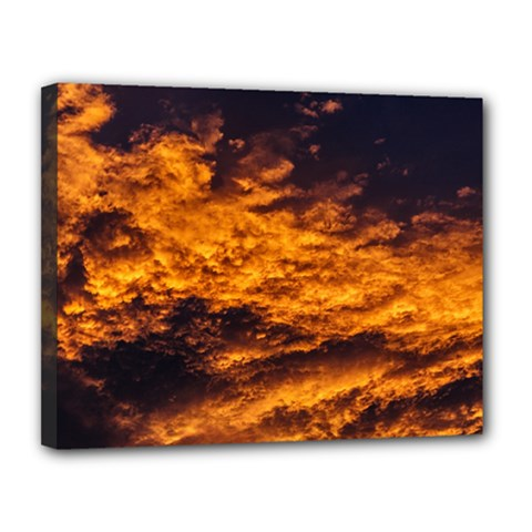 Abstract Orange Black Sunset Clouds Canvas 14  X 11  by Simbadda