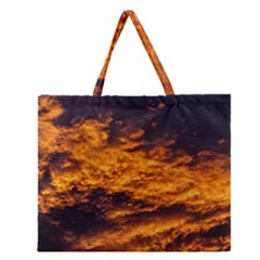 Abstract Orange Black Sunset Clouds Zipper Large Tote Bag by Simbadda