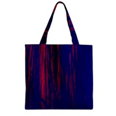 Abstract Color Red Blue Zipper Grocery Tote Bag by Simbadda