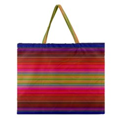 Fiesta Stripe Bright Colorful Neon Stripes Cinco De Mayo Background Zipper Large Tote Bag by Simbadda