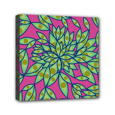 Big Growth Abstract Floral Texture Mini Canvas 6  X 6  by Simbadda