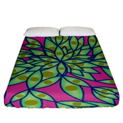 Big Growth Abstract Floral Texture Fitted Sheet (king Size) by Simbadda