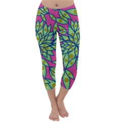 Big Growth Abstract Floral Texture Capri Winter Leggings  by Simbadda