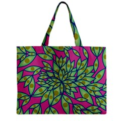 Big Growth Abstract Floral Texture Zipper Mini Tote Bag by Simbadda