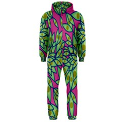 Big Growth Abstract Floral Texture Hooded Jumpsuit (men)